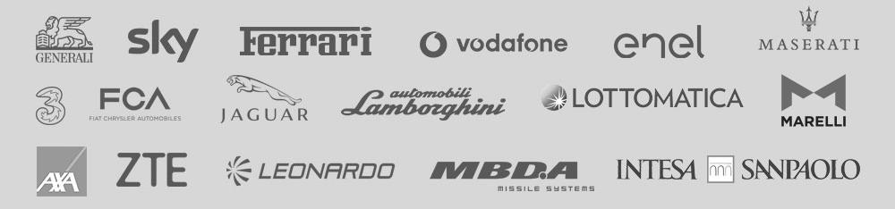 Alcuni dei nostri clienti: Fiat, Sky, Ferrari, Vodafone, Enel, Maserati ...