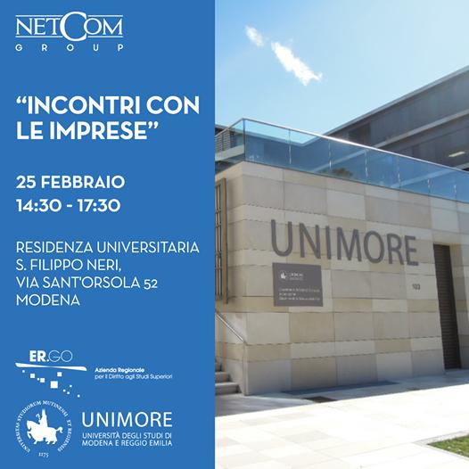 """NetCom Group a """"Incontri per le Imprese"""" organizzato da UniMoRe"""